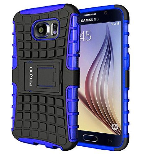 Galaxy S6 Hülle,Pegoo Schutzhülle Dual Layer Hybrid Harte Rüstung Handyhülle Drop Resistance Handys Schutz Hülle mit Anti-Kratz für Samsung Galaxy S6 (Blau) -
