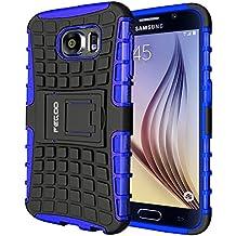 Funda Galaxy S6,Pegoo Caja El Soporte Incorporado A Prueba de golpes Anti-Arañazos y Polvo Mezcla Doble Capa Armadura Proteccion Cover Case Caso Funda Cáscara Caja para Samsung Galaxy S6 (Azul)