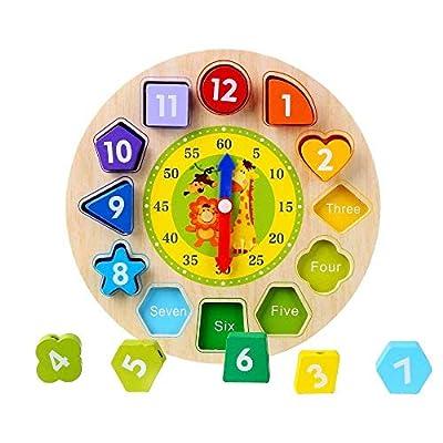 Afunti Toy Reloj Puzle - Juguete Educativo De Madera para Aprender Las Horas,Relojes de Aprendizaje,Reloj De Rompecabezas para Niños por Afunti