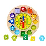 Afunti Clock Toy Teaching Clock Puzzle Shape Sorting Clock / Wooden Clock with Numbers and Shapes Sorting Blocks