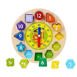 Afunti Orologio Puzzle in Legno – Primi Educazione Puzzle Giocattoli Educativi del Bambino