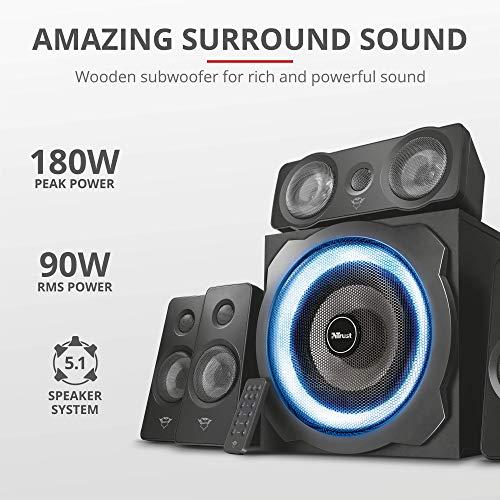 Trust Gaming GXT 658 Tytan 5.1 Surround Lautsprecher Set mit Fernbedienung (180 Watt, LED Beleuchtung) schwarz - 2