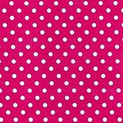 Cerise Rosa diseño de lunares/punto tela de polialgodón (por metro)...