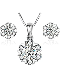 Gilind 925 Sterling Silver Garnet Heart Necklace and Earrings Set for Women + Gift Box L5StUw