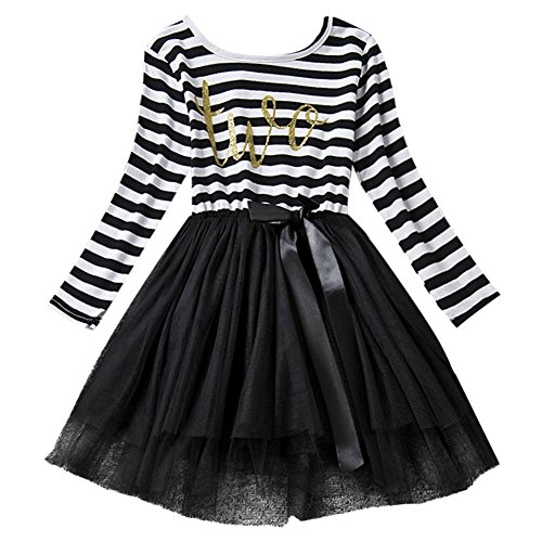 Neugeborene Säuglings Kleinkind Baby Mädchen Ist es Mein 1. / 2. / 3. Geburtstags Gestreiften Tüll Tütü Prinzessin Kleid mit Bowknot Partykleid Fotoshooting Outfits Kostüm ()