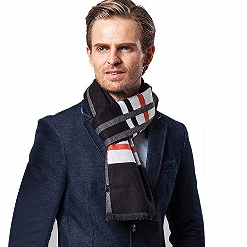 UJUNAOR Männer Klassischer Schal mit vertikalem Karo-Muster Warme Herbst Winter Herrenschal 180 * 30CM(Weiß,One size)