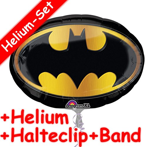 Folienballon Set * BATMAN + HELIUM FÜLLUNG + HALTE CLIP + BAND * für Kindergeburtstag oder Superhelden-Party // SUPERSHAPE // Folien Ballon Helium Deko Ballongas DC Comics Fledermaus