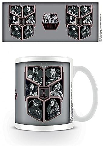 Set: Justice League, Movie Character Shield Tasse À Café Mug (9x8 cm) + 1x Sticker Surprise 1art1®