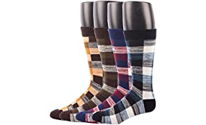 Mens Socks Cotton Rich, RioRiva Men's Dress Colourful Patterned Luxury Designer Socks, Striped Argyle Dotted etc, Size UK 7-14, Multipack.