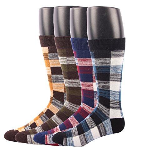 RioRiva Herren Business Britische Plaid Socken Berufssocken Arbeitssocken Anzugsocken kariert bunt für Männer ohne gummi (EU 41-48 / US 7.5-13, BSK02Y- 5Paar) (Socken Casual Muster)