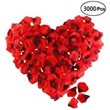 Rose Petals, ETEREAUTY 3000Pcs Silk Artificial Rose Petals Red Confetti for Wedding Decoration, Valentine's Day and Romantic Party (Dark Red)