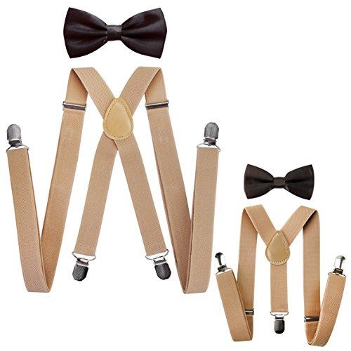Axy Ensemble avec bretelles et nœuds papillons pour un look assorti père-fils Kit pour homme/femme/enfant beige Beige Hosenträger Breit 2,5cm + Dunkelbraune Fliege