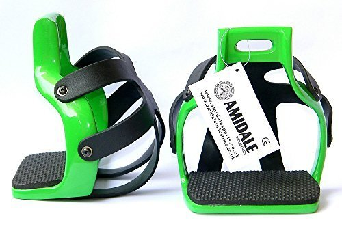 AMIDALE Nuevo Aluminio Resistente Flex Circulación Enjaulado Seguridad Caballo Estribos - Verde, 4.00