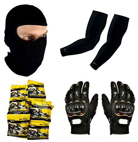 Auto Pearl Premium Quality Bike Accessories Combo Of Balaclava Black Face Mask Net For Bike Riding Sunscreen Dust Proof Mask. & Arm Sleeve for Protection against Sun, Dust and Pollution Black 2 Pcs. & Pro Biker Skid Proof Full Finger Racing Gloves Black 1 Pair. & Auto Pearl - Air Gloss Premium Quality Car and Bike Instant Shiner Wax Foam -Pack of 20 Pcs.  available at amazon for Rs.1515
