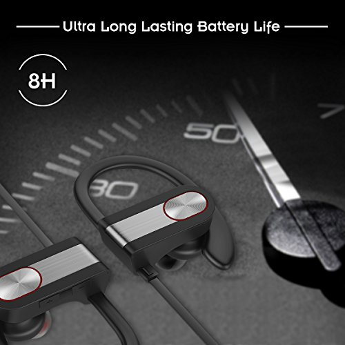 Honstek H9 drahtlose Bluetooth 4.1 Sport Kopfhörer / Headsets / Ohrhörer / Kopfhörer mit Mikrofon für Gym, Rennen, Jogger, Wandern, Übung für iPhone, Samsung, Galaxy, Android Handys, Bluetooth Smart TV (Schwarz/Grau) - 3