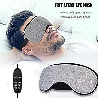 ZOWFUN Antifaz Para Dormir Steam Gafas Calientes Y FríAs, PU Material Calor Infrarrojo,Carga USB Anti-Luz Opaco CóModa Circulos Oscuros