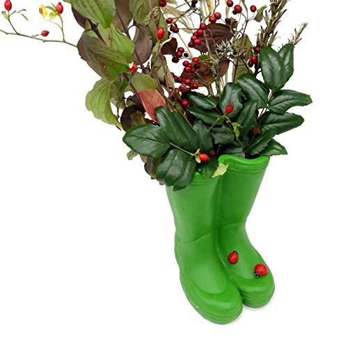 Happy Life Vase Topf Gummistiefel Blumenvase Blumentopf Dekovase Landhaus Stiefel Garten Pflanztopf Vintage