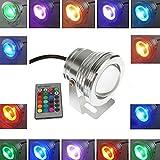 Gladle Fernbedienung 10w DC12v Wasserdichtes RGB LED Unterwasserlicht Für Landschaftsbrunnen Teichbeleuchtung (Silber)
