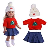 Momola Our Generation 18 inch American Girl Doll Christmas Clothing Set 3Pcs Cute Sweater + Skirt + Hat , Dolls Outfits, Girls Pretend Play Toy Gifts