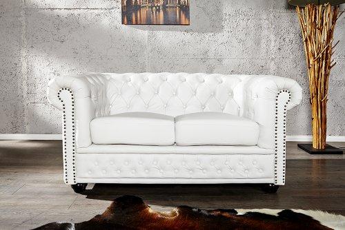 Invicta Interior 12547 Chesterfield Sofa 2-er mit Nietenbesatz, weiss matt
