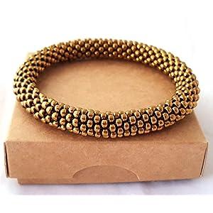 Gehäkelte Perlen Armband, Bronze glasperlen rolle armband