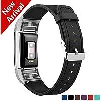 Fitbit Charge 2 Armband Leder, Kutop Weiches Lederarmband echte Armbänder Sport Ersatzband Zubehör Uhrenarmband für Fitbit Charge 2 Tracker