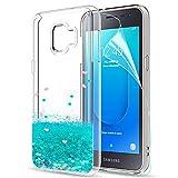 LeYi Hülle Galaxy J2 Core Glitzer Handyhülle mit HD Folie Schutzfolie,Cover TPU Bumper Silikon Flüssigkeit Treibsand Clear Schutzhülle für Case Samsung Galaxy J2 Core Handy Hüllen ZX Turquoise