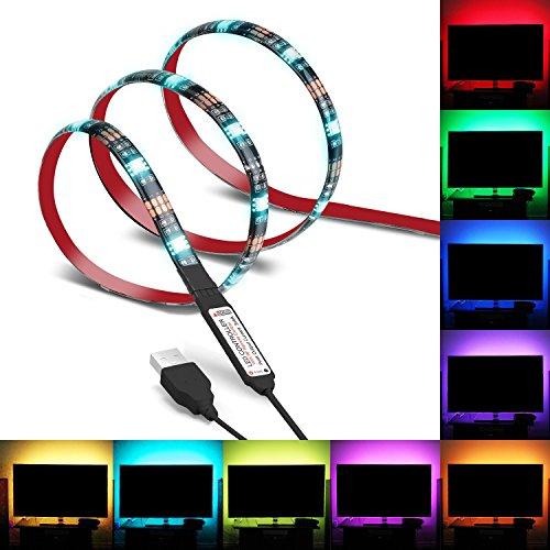 LED Hintergrundbeleuchtung, Relohas TV-Hintergrund-Bias-Beleuchtung für HDTV, LED-Streifen IP65 Wasserfest mit Fernbedienung , 100cm RGB-LED-Strip Mehrfarbig für Flachbildfernseher und PC, Stromversorgung über USB-Anschluss (1M)