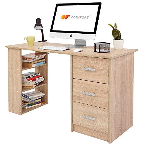 COMIFORT T04S – Escritorio con Cajones y Estantes, Mesa De Oficina, Escritorios De Despacho, 120x49x72 Cm, Color Roble Sonoma