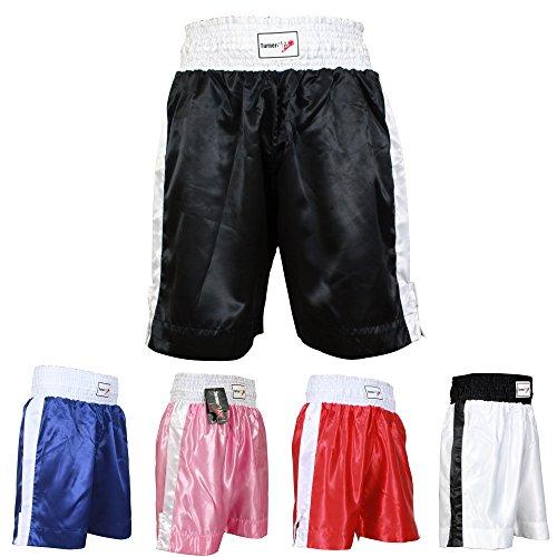 TurnerMAX Pantalones Cortos de Boxeo para Entrenamiento, Gimnasio, Club de Lucha, Agarre, Artes Marciales Mixtas y Boxeo, Talla XL, Color Negro