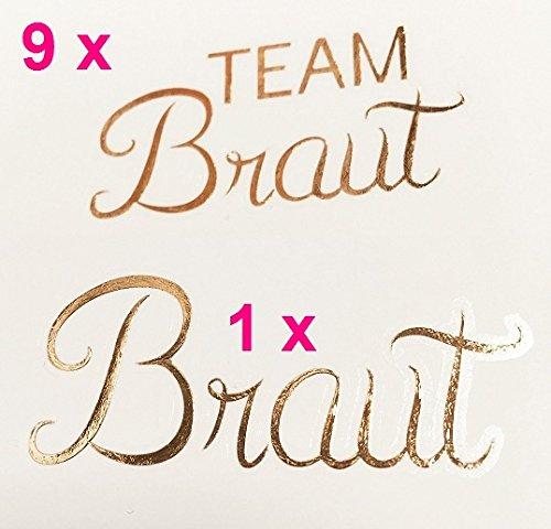 10er Set temporäres Tattoo Braut/ Team Braut Hochzeit JGA Junggesellinnenabschied