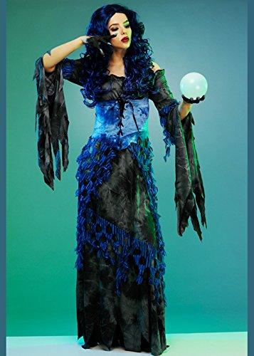 Womens Halloween Gothic Wahrsager Kostüm Large (UK 16-18) (Wahrsager Kostüm)