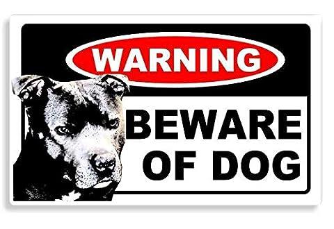 Staffordshire Bull Terrier Dog - Beware Sticker For Home Door