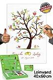 Fingerabdruck Leinwand *60x40* mit NAMEN & DATUM - INKL Zubehör-Set GRATIS (Stempelkissen+Stift+Anleitung+Hochzeitsbuch+...) + PORTOFREI - Hochzeitsbaum mit Ringen - Hochzeitsbaum Fingerabdruck - Fingerabdrücke der Hochzeitsgäste auf Leinwand als Hochzeitsgästebuch Einträge - Fingerabdruck Baum Leinwand - Hochzeitsbaum mit Ringen INDIVIDUALISIERT mit Namen & Datum