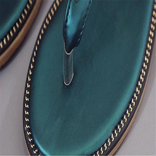 Les diamants de la TOE dété Flat Sandals Femme green
