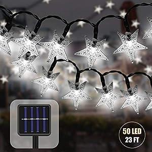 LED Solar Lichterkette Aussen mit Lichtsensor 7 M 50 LED Sterne Kristall Beleuchtung Wasserdicht Weihnachten Dekoration Lichterkette für Garten Bäume Partys Lnnen und Außen (Weiß)