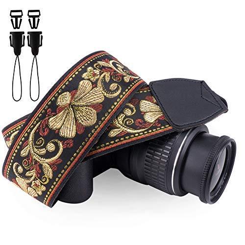 Hasselblad Polaroid (Wolven Vintage Jacquard Webart Kamera Nackengurt Schultergurt kompatibel für alle DSLR/SLR / Digitalkameras (DC) / Instant Camera/Polaroid etc, Golden Retro Floral)