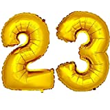 DekoRex® Folienballon Zahlenballon Luftballon Geburtstag Deko 80cm Zahl Gold 23