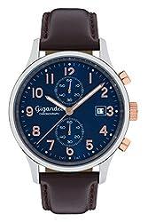 Gigandet Mens Quartz Watch Skyscraper Chronograph Analog Leather Strap Blue Brown G49-001
