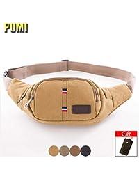 Buyworld Belt Bag Men Canvas Waist Pack Fanny Pack For Women Chest Bag Travel Pillow Phone Hidden Money Belt Pouch...