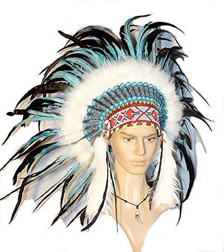 Indianer Bilder Kostüm - Hejoka-Shop Indianer Federhaube Kopfschmuck EDEL UNIKAT schwarz-türkis Federn Perlen für FOTOSHOOTING oder Fasching Kostüm Medizinmann Indianer
