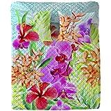 Costura Orchids - Colcha bouti para cama de 90 cm