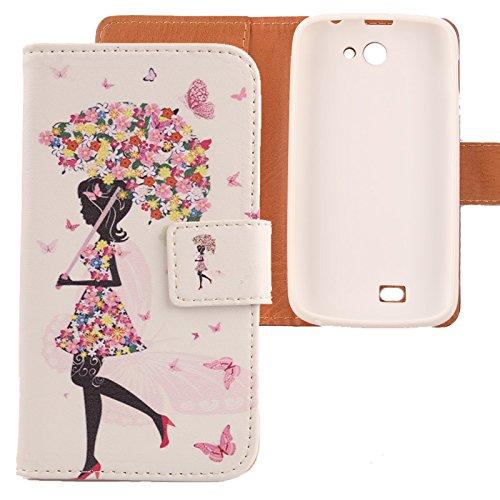 Lankashi PU Etui Flip Housse Case Cuir Coque Cover Skin Pour Archos 40 Titanium (pas pour Archos 40d Titanium) Umbrella Girl Design