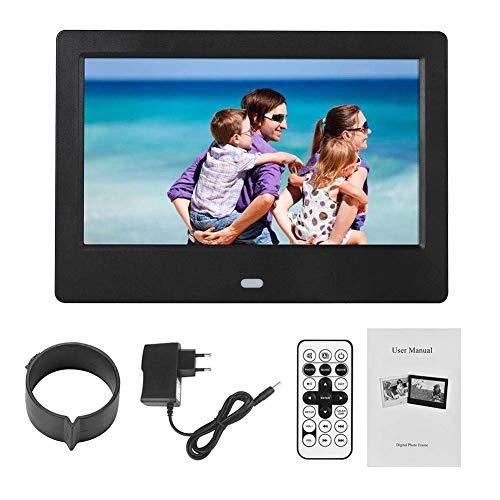 7-Zoll Digital-Foto-Frame-Elektronische Foto-Frame-Frame 1024X600HD Bild-Videorahmen, Uhr und Kalender-Funktion mit Fernbedienung, unterstützen eine Vielzahl von Dateiformaten,Black