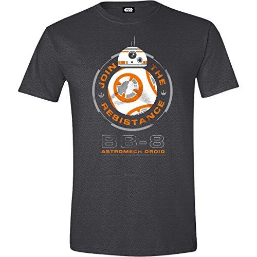 Preisvergleich Produktbild Star Wars VII: The Force Awakens - BB-8 Astromech Droid Herren T-Shirt - Grau - Größe Medium