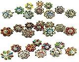 Knobsworld - Set di 20 pomelli piccoli da 2,5cm, in ceramica dipinta a mano, pomelli assortiti adatti per cassetti, armadietti, ecc.
