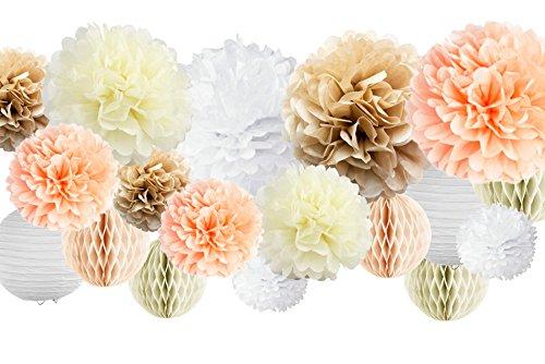 VIDAL CRAFTS 30 Pompons aus Seidenpapier (35,6 cm, 25,4 cm, 20,3 cm, 15,2 cm), Papierblumen, Papierlaternen und Wabenbälle, für Hochzeit, Babyparty, Kinderzimmer champagne, peach, ivory, white
