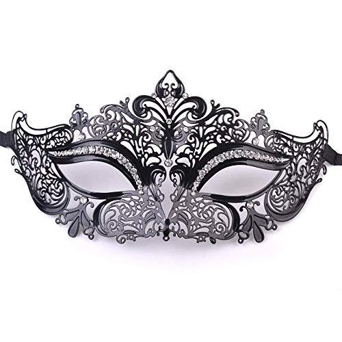 (RXBC2011 1pcs Glaenzend Metall Filigran Phantom Halbegesichtsmaske Fuer Venetian Maskenspiel (Schwarz / Weiss Steine))