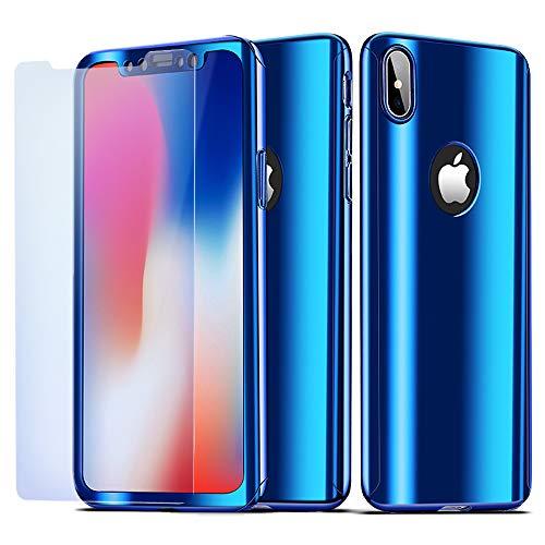 9fa13442ada NALIA Funda Integral Compatible con iPhone X XS, Carcasa Completa con  Cristal Templado, Ultra