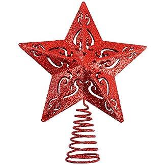 Aneco-Weihnachtsbaumspitze-aus-Metall-glitzernd-5-Punkt-Stern-Weihnachtsbaum-Dekoration-Draht-Stern-Baumspitze-fr-Zuhause-Urlaubsdekoration
